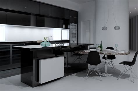 cocina blanco  negro  mesa integrada en isla
