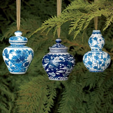 blue and white christmas ornament set
