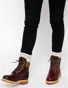 womens boots like timberlands timberland timberland 6 inch premium burgundy lace up flat boot at asos