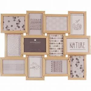 Cadre Pêle Mêle : cadre p le m le 12 photos en bois naturel 59 5x45 5cm ~ Teatrodelosmanantiales.com Idées de Décoration