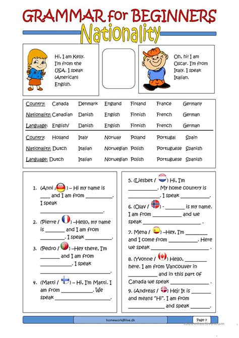 Grammar For Beginners Nationality Worksheet  Free Esl Printable Worksheets Made By Teachers