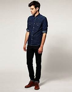 Indigo Dark Denim Shirt and Black Jeans Mens Look | Menu0026#39;s Fashion Trends | Pinterest | Dark ...