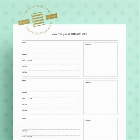 free for a limited time this exterior paint color log printable from day designer