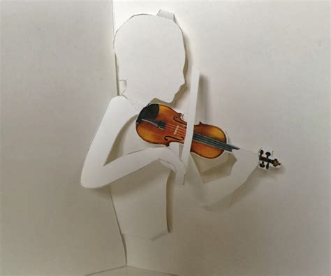 printable violin pop  card shows violinist bowing