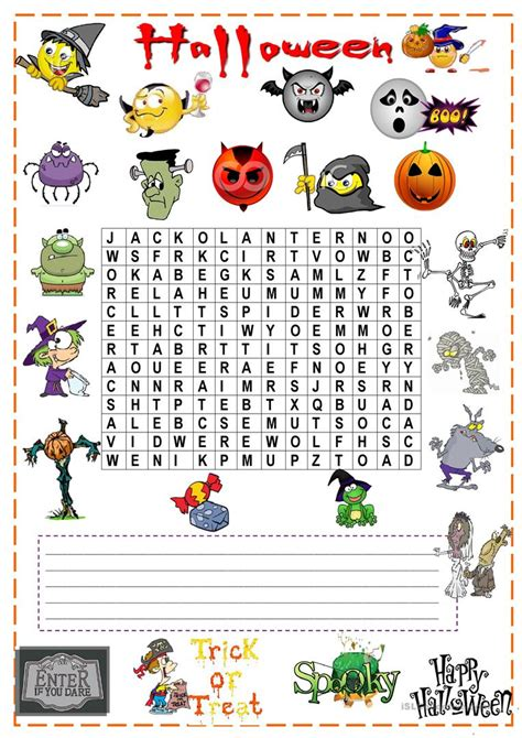 halloween wordsearch english esl worksheets  distance