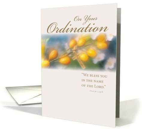 ordination congratulations with flowers and cross religious blessings card religious life
