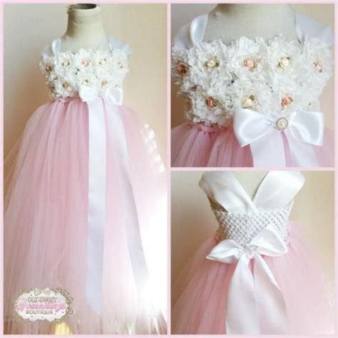 shabby chic flower dress light pink tulle skirt white shabby chic flower girl dress vintage inspired tutu 2227663 weddbook