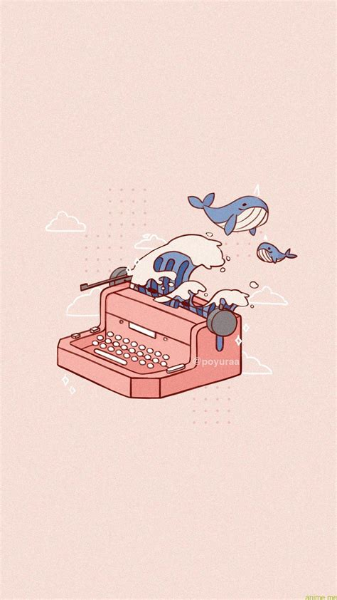 cute pink aesthetic narwhal wave typewriter doodle