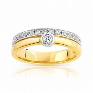 bague alliance et solitaire 2 ors 750 diamant femme With alliance mariage bijouterie