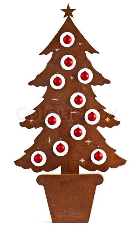 metall rost weihnachtsbaum mit roten stock bild colourbox