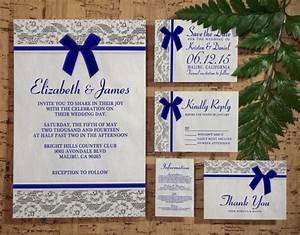 royal blue country lace wedding invitation set suite With wedding invitations rsvp and thank you cards