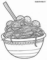 Coloring Spaghetti Noodle Doodle Alley Meatballs Printable Sheets Adult Template Everfreecoloring Toddler Italian Kindergarten Sketch Printables Kawaii Preschool Cool Popular sketch template