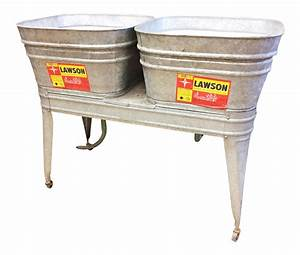 Vintage, Lawson, Country, Galvanized, Double, Basin, Wash, Tub, With, Stand