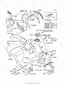 Kawasaki Motorcycle 2005 Oem Parts Diagram For Fuel Tank