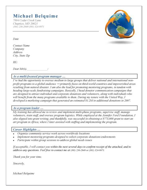 Resume Cover Letter For Program Manager by Program Manager Cover Letter Exle