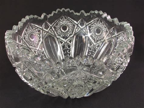 vintage hobstar clear glass bowl sawtooth scalloped edge