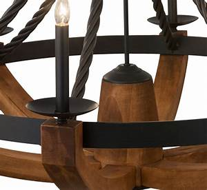 Rustic, Doyle, 6, Lt, Large, Wood, And, Iron, Chandelier