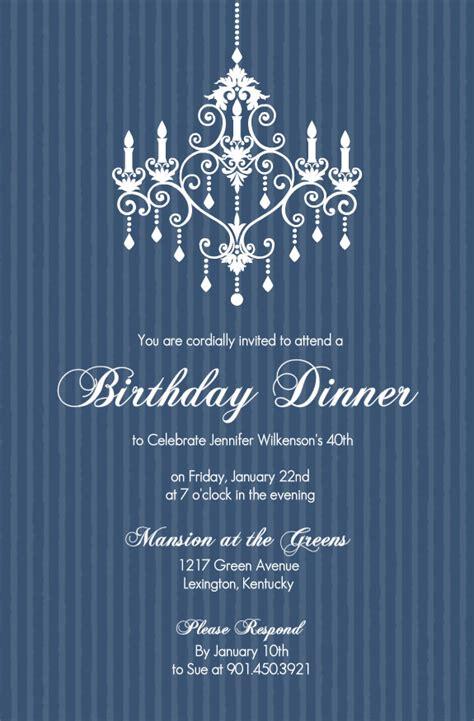 birthday invitations elegant chandelier blue