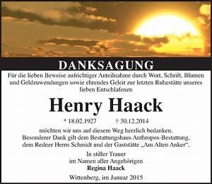 Super Sonntag Wittenberg : traueranzeigen von henry haack ~ Watch28wear.com Haus und Dekorationen