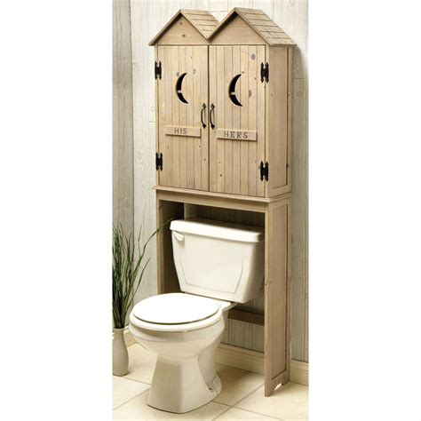 Unusual Wood Home Shaped Above Toilet Storage Cabinet With