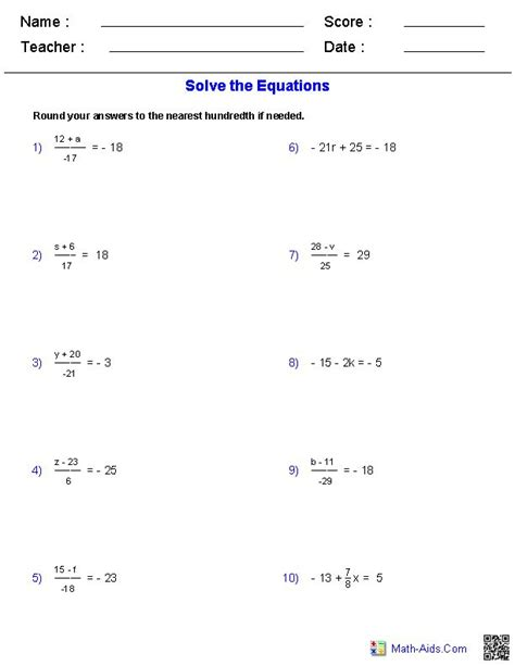 two step equations worksheets containing integers math aids equation