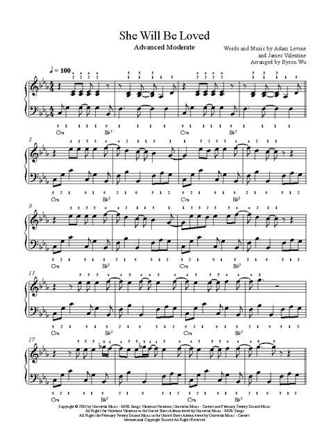 loved  maroon  piano sheet  advanced