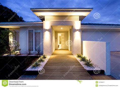 contemporary home front entrance royalty  stock