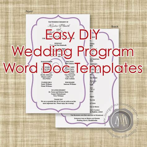 margotmadison diy wedding program word  templates