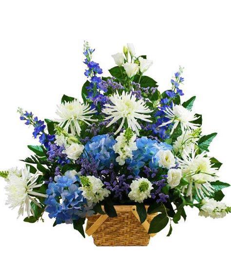 traditional blue  white sympathy basket avas flowers