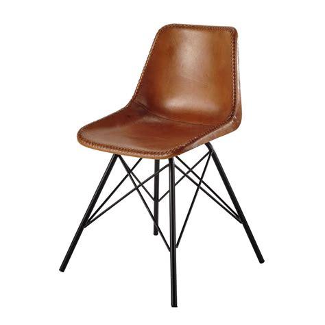 chaise en cuir et m 233 tal camel austerlitz maisons du monde