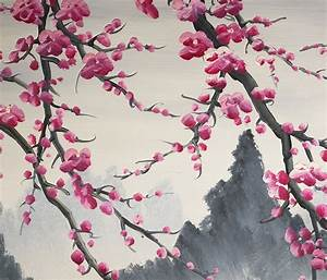 Cherry Blossom Painting Chinese Feng Shui Flower Painting ...