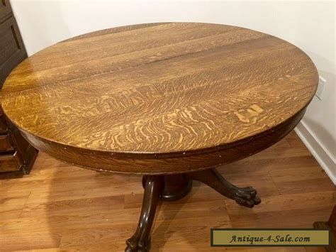Antique Victorian Large Oak Round Dining Table With Claw