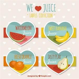 Fruit juice labels heart shaped Vector | Free Download