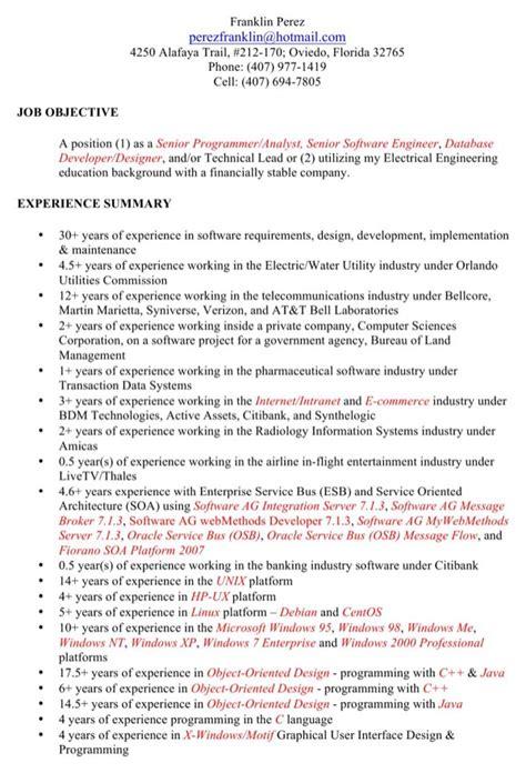 senior programmer analyst resume template for