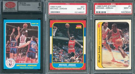 At the bottom of the. Michael Jordan Rookie Card Lot of (4) - All Graded 9
