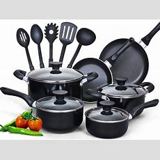 Cook N Home 15 Piece Non Stick Black Soft Handle Cookware
