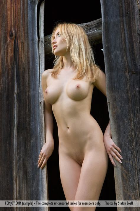 Nude Village Blonde With Perfect Round Tits Shows Her Fine Body By The Wooden Fence