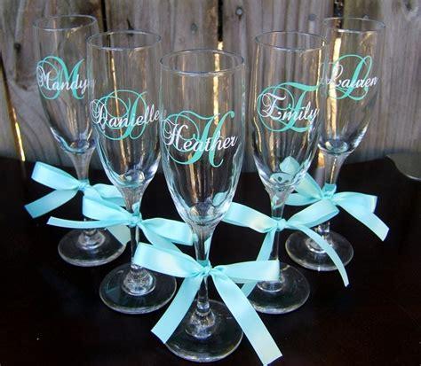 monogrammed wedding glasses bachelorettebridesmaid champagne flutes set