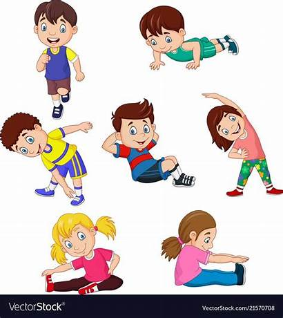 Yoga Cartoon Clipart Vectorstock Exercise Poses Different