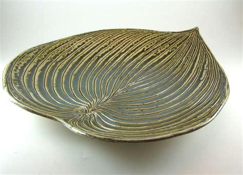 Ceramic Platters / Pottery Hosta Leaf Serving Platter / Tray