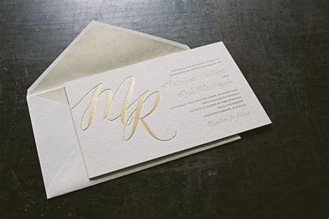 Oversized Gold Foil Monogram Wedding Invitations