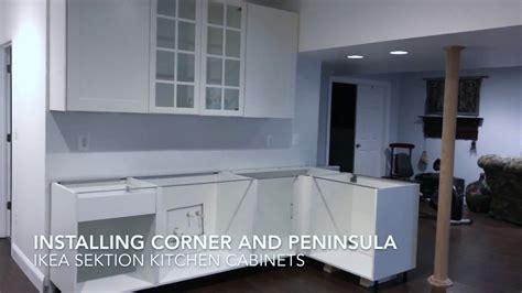 installing ikea sektion cabinets installing ikea sektion cabinets corner peninsula youtube