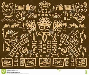 Mayan Drawing Of Ancient Symbols Stock Photo - Image: 78581019
