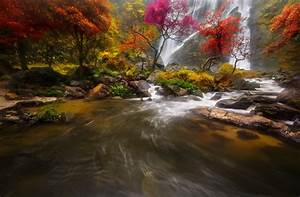 Waterfall color autumn