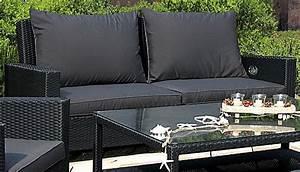 Rattan Lounge Schwarz : grasekamp rattan lounge 3er garten sofa schwarz anthrazit ~ Indierocktalk.com Haus und Dekorationen
