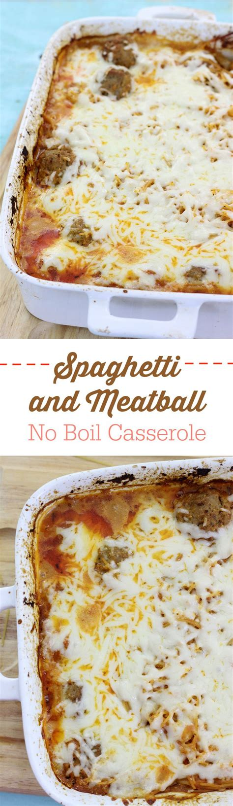 boil spaghetti  meatball casserole recipe dinner