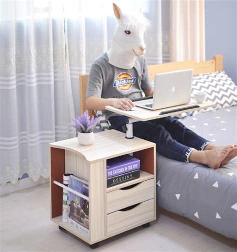 bedside desk modern swivel movable bedside table desk wooden with