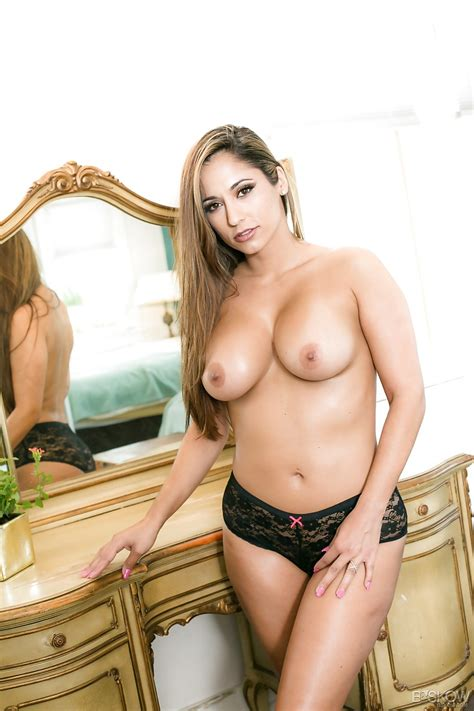 Busty Milf Reena Sky Sheds Black Thong Panties To Show