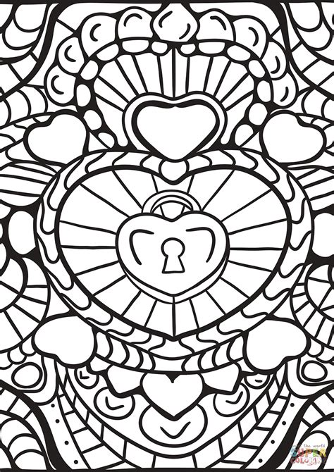 abstract heart patterns coloring page  printable coloring pages