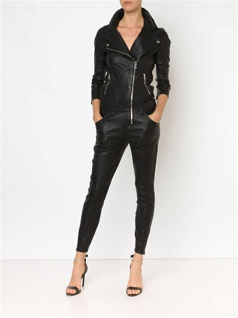 leather jumpsuits rta leather jumpsuit in black lyst